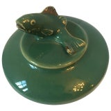 Image of Green Ceramic Trinket Box With Fish Motif Lid For Sale