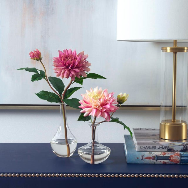 Pretty pink dahlias in curvy bud vases, set of two, compliment a desk or a side table perfectly. Hand-made to order in our...
