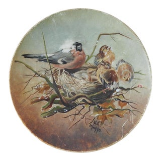 Antique 1890 Hand Painted Bird Plate For Sale