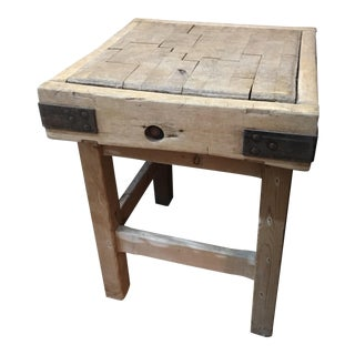 Old English Wood Butcher Block on Stand