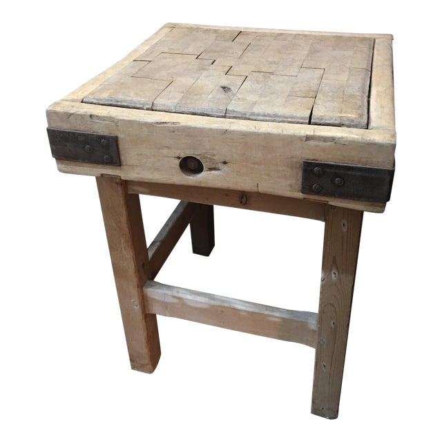 Old English Wood Butcher Block on Stand For Sale