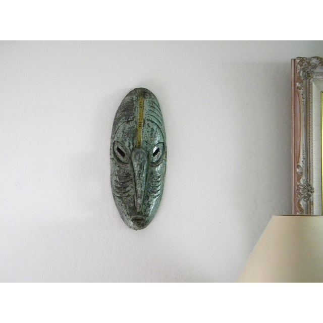 1960s Vintage African Solid Wood Stained Teal and Gray Mask For Sale - Image 5 of 10