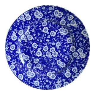 Vintage Blue With White Flowers Chintz Plate