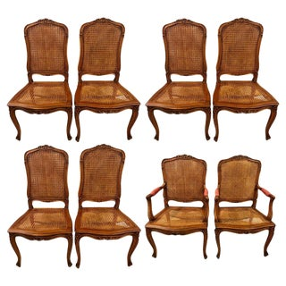 Eight Louis XV Style Country French Dining Chairs, Conference Chairs For Sale
