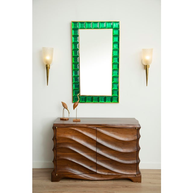 Contemporary Contemporary Green Diamond Murano Glass Mirror For Sale - Image 3 of 8