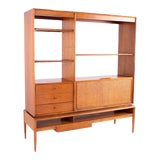 Image of Barney Flagg for Drexel Parallel 2 Piece Walnut and Cane Room Divider For Sale