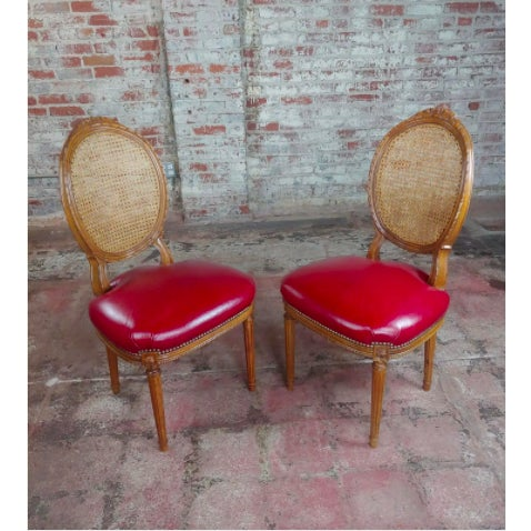 Red Louis XVI Seat Dining Chairs - Set of 8 For Sale - Image 8 of 10