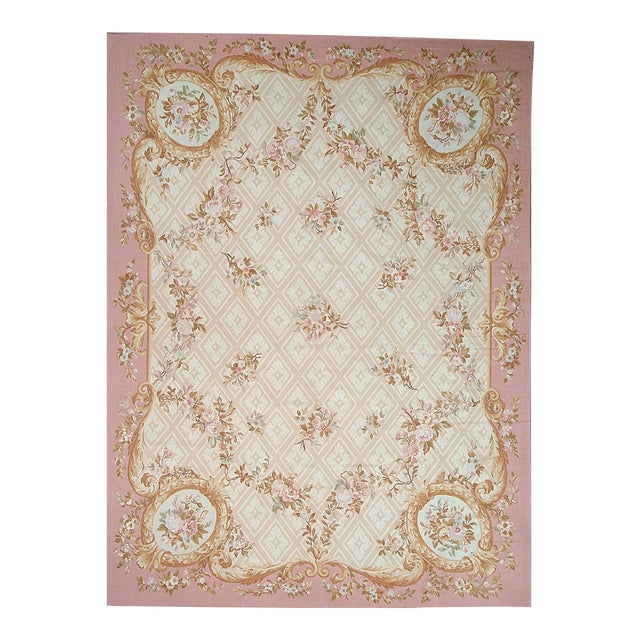 Pasargad Aubusson Hand-Woven Wool Rug- 9' X 12' For Sale