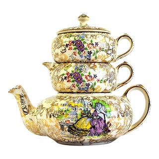 1950s Lord Nelson Ware Pompadour Stacking Chintz Teapot Set, Made in England - 3 Piece Set For Sale
