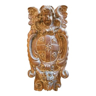18th Century Dutch or Flemish Carved Oak Armorial Shield with Putto For Sale