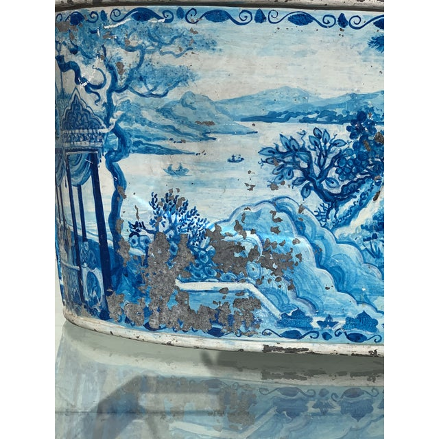 Metal Blue Tole French Style Chinoiserie Planter For Sale - Image 7 of 11