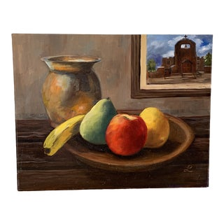 Vintage Earthy Still Life Fruit Painting For Sale
