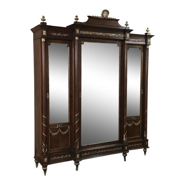19th Century French Louis XVI Mahogany Armoire With Ormolu For Sale