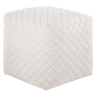 Nikki Chu by Jaipur Living Ardent White Geometric Square Pouf For Sale