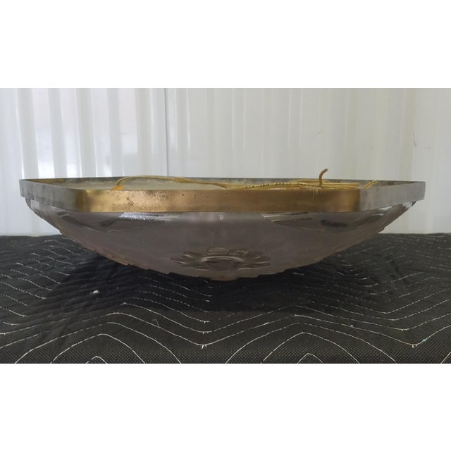 Metal French Art Deco Signed Degue Flush Mount Ceiling Fixture For Sale - Image 7 of 8