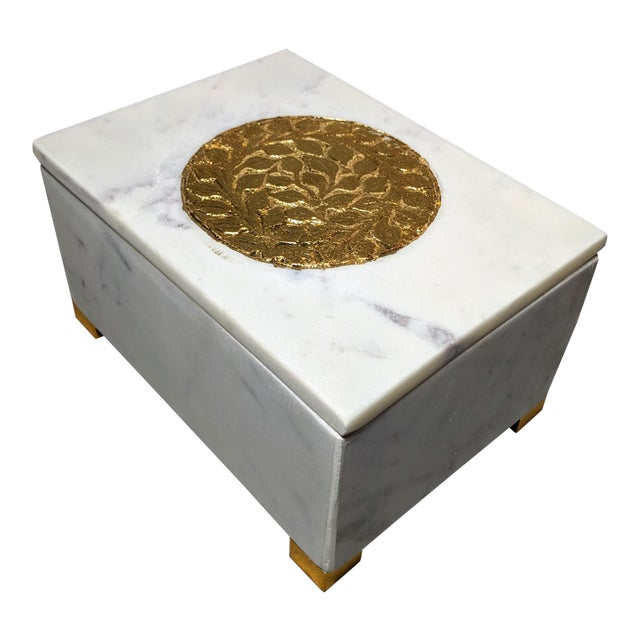 Gold and White Decorative Box For Sale