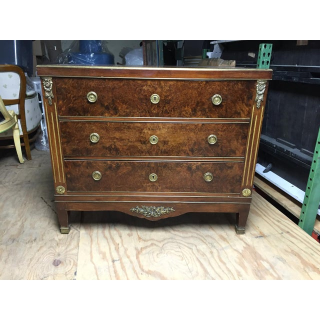 Wood Empire Style Mahogany & Burl Commode For Sale - Image 7 of 7