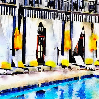 Caribbean Style Poolside - Swimming Pool Art - Digital Watercolor Print From Original Color Photograph by Suzanne MacCrone Rogers For Sale
