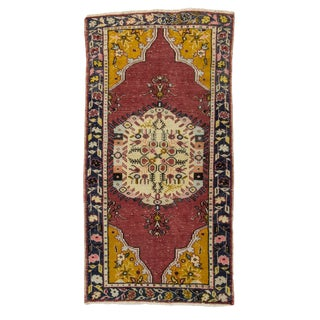 "Vintage Turkish Oushak Rug-3'4'x8'6"" For Sale"