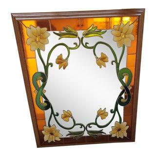 Vintage 1970's Art Nouveau Style Oak Mirror For Sale