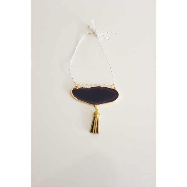 Modern Boho Purple/Eggplant Agate Holiday Ornament - Image 2 of 6