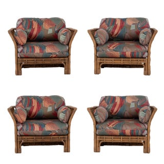 1990s Rattan Lounge Chairs by Brown Jordan-Set of Four For Sale