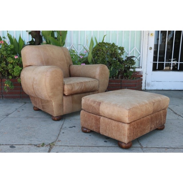 Brown Vintage Leather Club Chair and Ottoman Set For Sale - Image 8 of 8