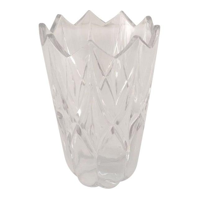 Vintage Clear Cut Glass Tulip Shaped Vase For Sale