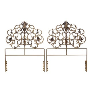 Mid Century Gold Gilded Hollywood Regency Iron Twin Bed Headboard ~ a Pair For Sale