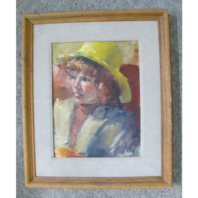 Mid 20th Century Vintage Portrait Oil Painting of Young Girl in Yellow Hat, Framed For Sale - Image 5 of 5
