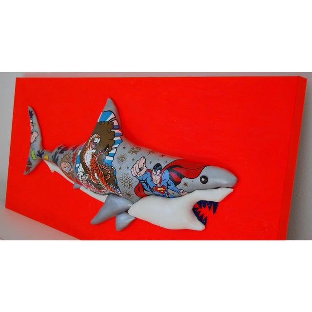 "Contemporary Enrico Cecotto ""Supershark"" Contemporary Sculptural Painting For Sale - Image 3 of 10"