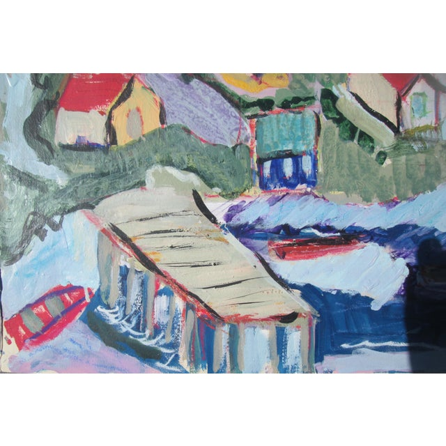 A mixed media painting on very high-grade acid-free beige watercolor paper, of seaside village complete with boats, pier...