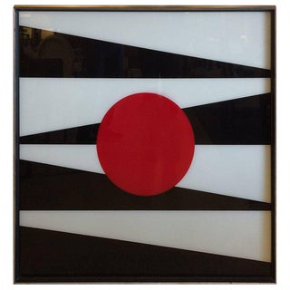 1960s Op Art Painting on Glass For Sale