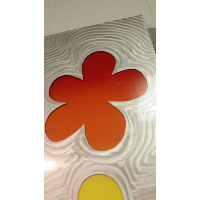 Stainless Steel Brushed Floral Wall Hanging - Image 4 of 6