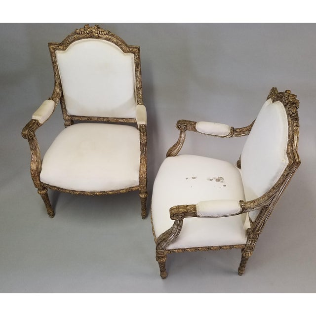 1910s C. 1910 French LXIV Style Pair of Arm Chairs For Sale - Image 5 of 8