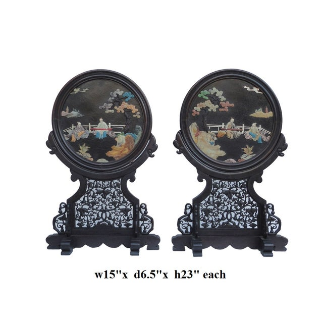 Oriental Tabletop Display Plaques- A Pair For Sale - Image 7 of 9