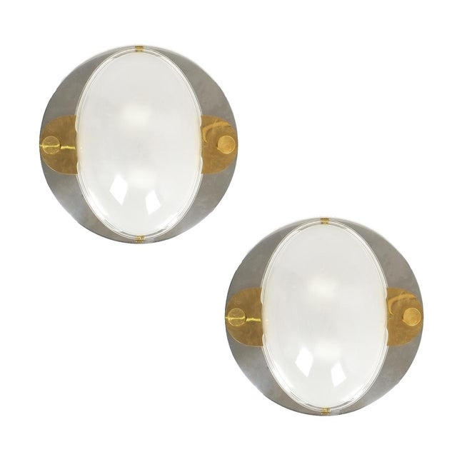 Luigi Caccia Dominioni flush mounts or sconces brass chrome glass, circa 1978. Pair of rare and large wall lights or...