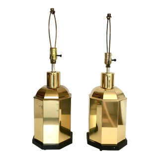 1970s Vintage Chinoiserie Pagoda Ginger Jar Urn Style Brass Lamps - a Pair For Sale