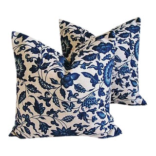 "Indigo Blue & White Down & Feather Pillows 20"" Square - a Pair"