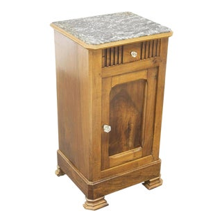 19th Century French Walnut Marble-Top Bedside Table For Sale