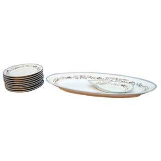 Limoges Fish Design Dining Pieces - Set of 10 For Sale