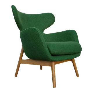 Oak and Green Wool Euro Chair