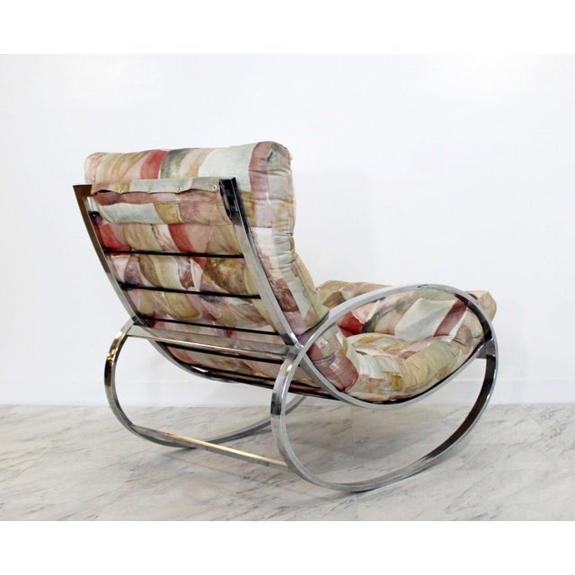 For your consideration is a fabulous, flat bar polished elliptical chrome rocker or rocking chair, with a floral...