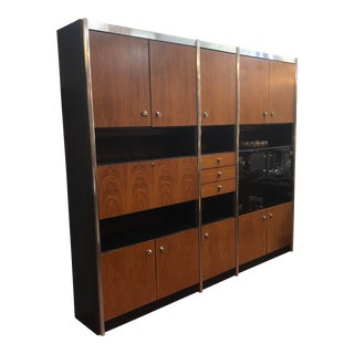 1960s Mid-Century Modern German Walnut 3 Section Wall Unit For Sale