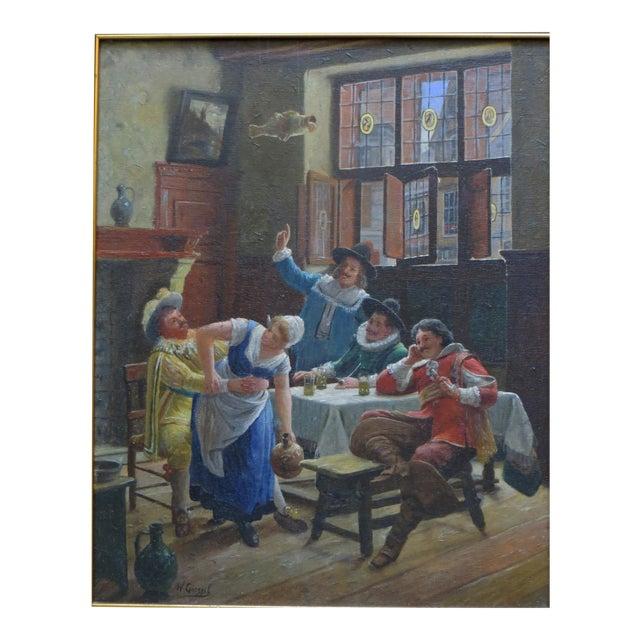 Wilhelm Giessel Tavern Scene Oil Painting For Sale
