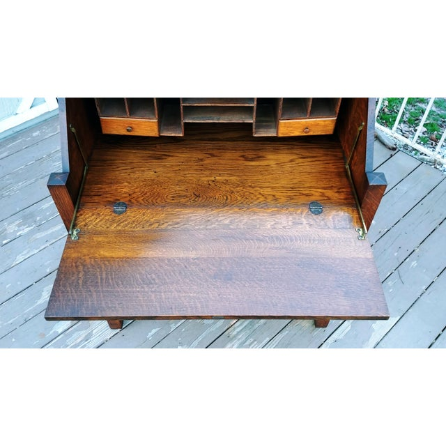 Gold 1910s Arts & Crafts Honeoye Falls Furniture Co Quarter Sawn Oak Desk For Sale - Image 8 of 13