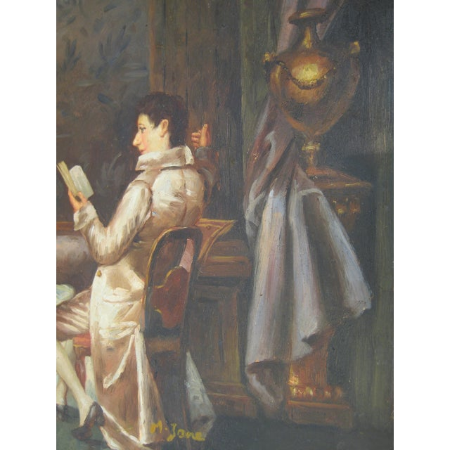 """The Reading"" Regency Era Oil Painting - Image 2 of 4"