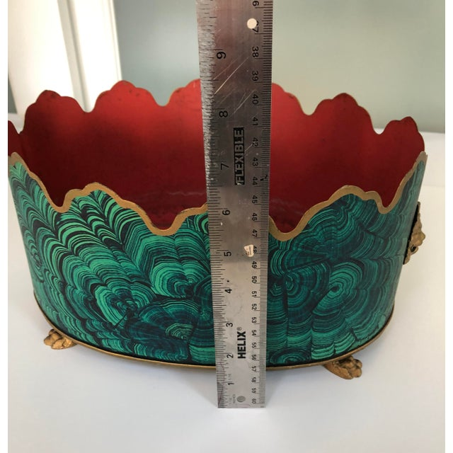 Regency Style Faux Malachite Tole Planter Box - Vintage For Sale - Image 11 of 13