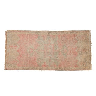 "Vintage Distressed Oushak Rug Mat Runner - 1'8"" X 3'7"" For Sale"