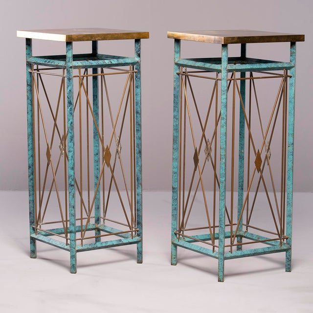 Neoclassical Style Verde Green Metal Statue Stands - a Pair For Sale In Detroit - Image 6 of 13